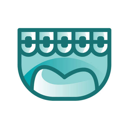 ブレースを有する歯  イラスト・ベクター素材