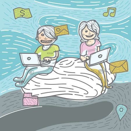 using laptop: boy and girl using laptop Illustration