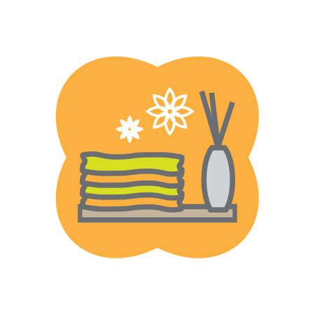 incienso: toalla con la varilla de incienso