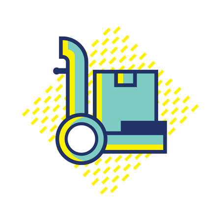 hand truck: hand truck with box Illustration