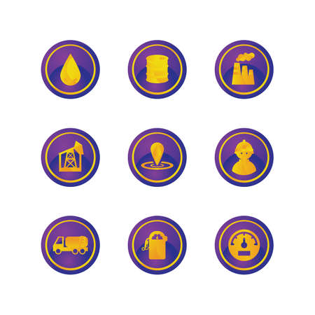 gas gauge: set of oil and gas icons