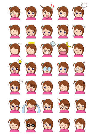 neutral face: girl face expression Illustration