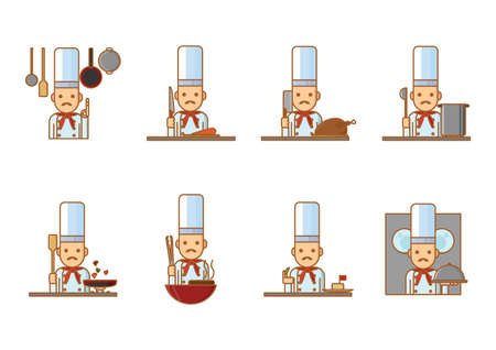 cooking chef: set of cooking chef Illustration