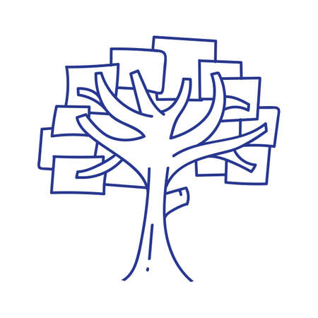 tree line: tree with rectangular leaves Illustration