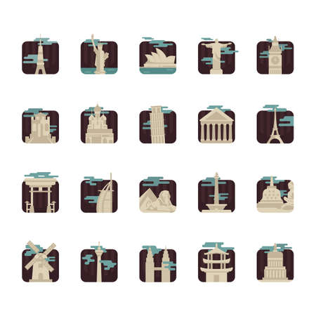 pisa cathedral: collection of world famous monuments Illustration