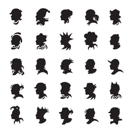 the human face: collection of human face silhouette