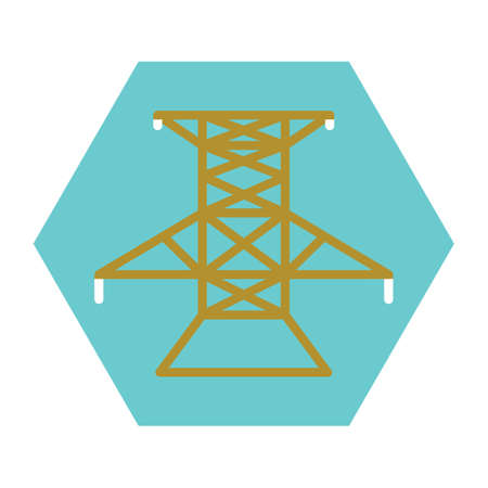 powerlines: electricity transmission tower Illustration