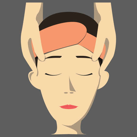 face massage: woman with face massage