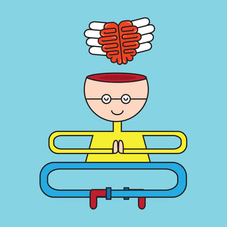 flying man: mediating man with flying brain Illustration