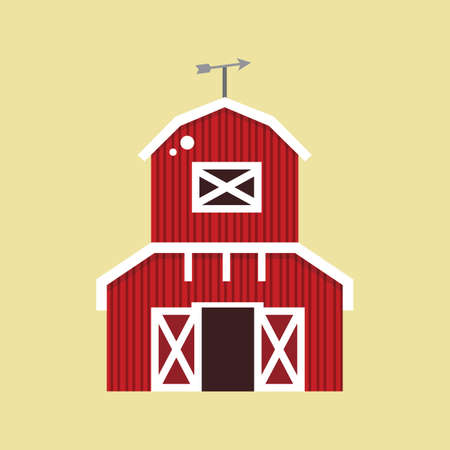 vane: barn with weather vane Illustration