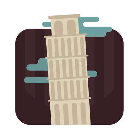 leaning tower of pisa Illustration