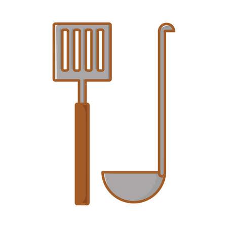 ladle: spatula with ladle spoon Illustration