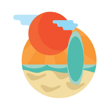 surfing board: sun and surfing board Illustration