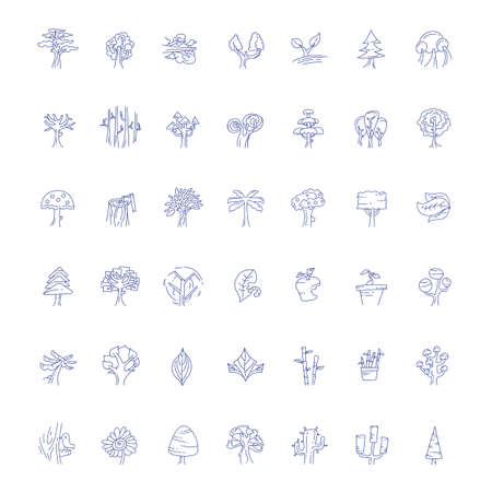 barren: icons of trees and plants