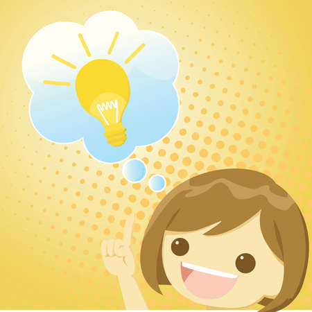 inventor: girl with an idea Illustration