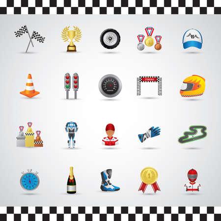 speedway: set of racing equipments Illustration