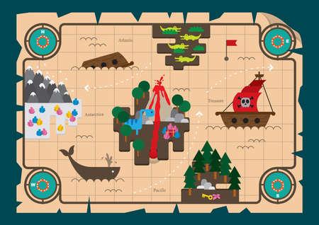 treasure hunt: treasure hunt map Illustration