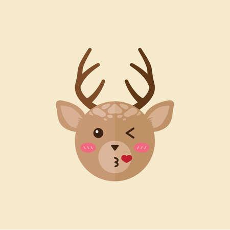 flying kiss: reindeer giving flying kiss Illustration