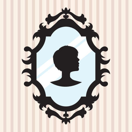 mirror and frame: silhouette of a girl in mirror frame