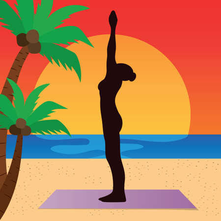yoga asana tree pose: woman practicing yoga in palm tree pose