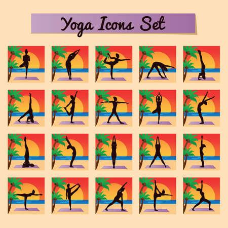 chandrasana: yoga icon set