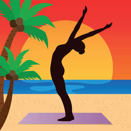 hasta: woman practicing yoga in raised arm pose Illustration