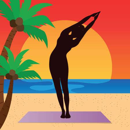 ardha: woman practicing yoga in half moon pose
