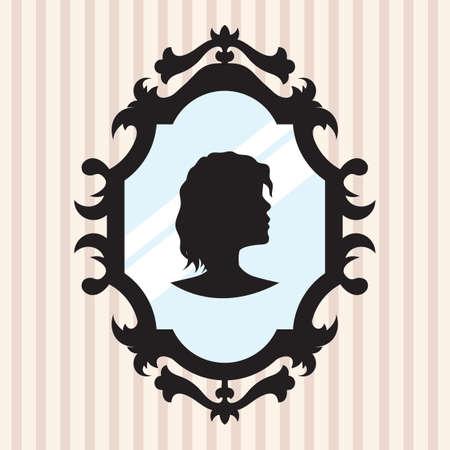 mirror frame: silhouette in mirror frame