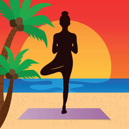 yoga asana tree pose: woman practicing yoga in tree pose Illustration
