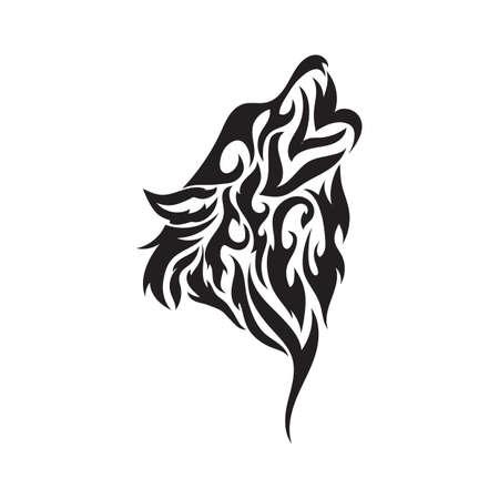 lobo tatuaje tribal Ilustración de vector