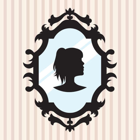 mirror frame: silhouette of a girl in mirror frame