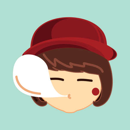 girl blowing: girl blowing bubblegum Illustration