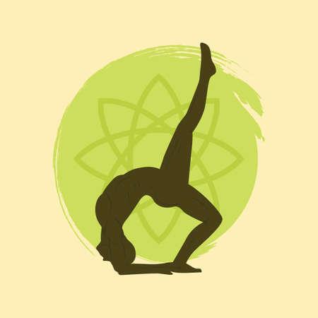 bend: man practicing yoga in back bend pose Illustration