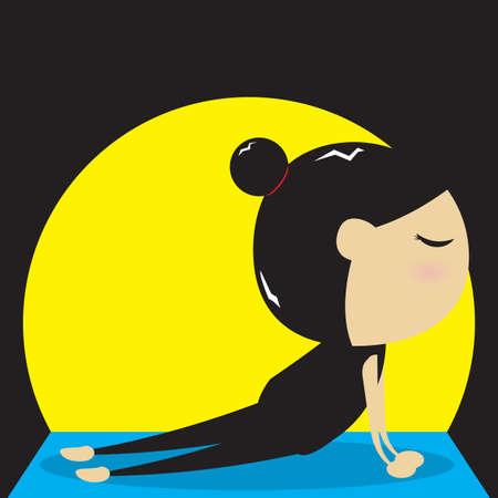 bhujangasana: woman practicing yoga in cobra pose Illustration