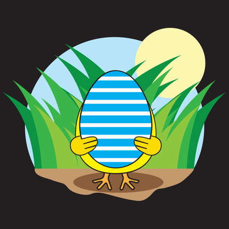 hiding: chick hiding behind easter egg
