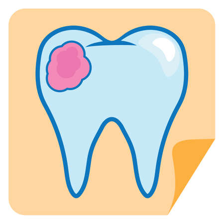 chewing: chewing gum on tooth Illustration