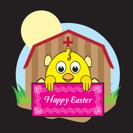 chick: chick holding happy easter card Illustration