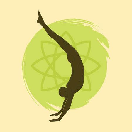 handstand: man practicing yoga in handstand pose Illustration