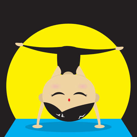 practicing: woman practicing yoga in supported headstand pose Illustration