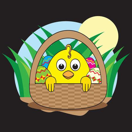 inside: chick inside the basket