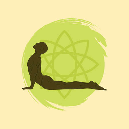 sphinx: man practicing yoga in sphinx pose