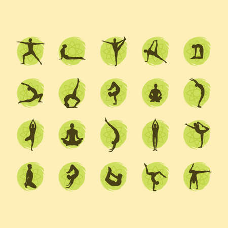 yoga asana tree pose: yoga pose set Illustration