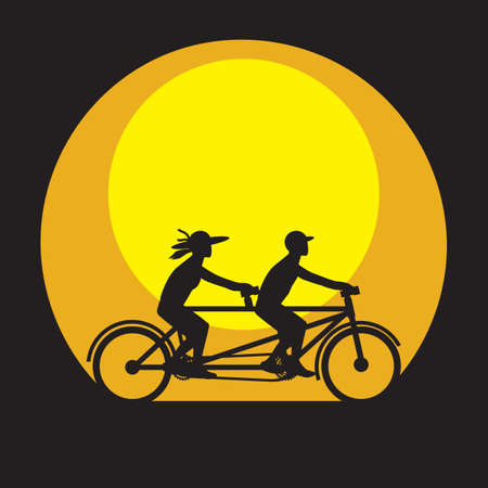 Tandem: man and woman with tandem bicycle