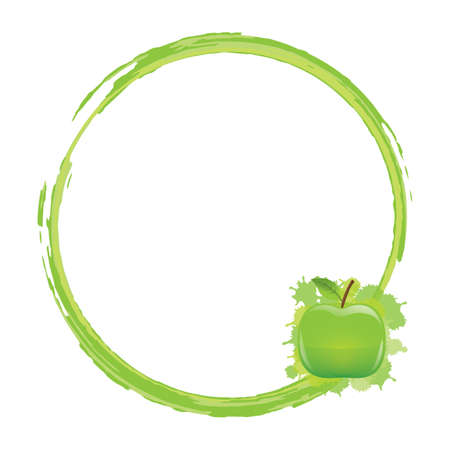 frame with green apple
