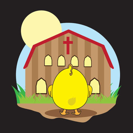 chick: chick in front of church Illustration