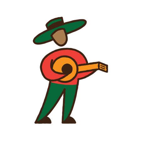 man playing guitar: man playing guitar Illustration