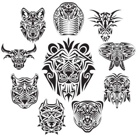 animals tattoos Illustration