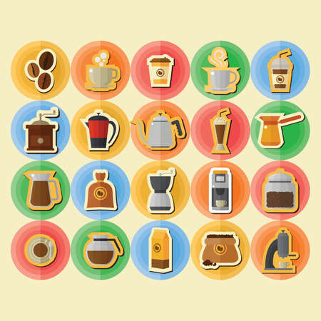 coffee sack: collection of coffee icons