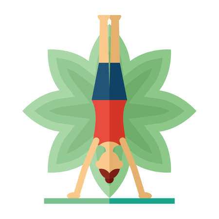 downward: woman practicing yoga in downward facing tree pose