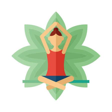 sukhasana: woman practicing yoga in lotus pose
